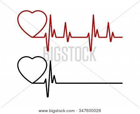 Heart Beat Line Red And Black. Red Heartbeat Line Of Life And Black Heartbeat Line Of Death. Red And