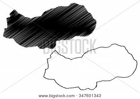 Upper River Division (subdivisions Of The Gambia, Republic Of The Gambia) Map Vector Illustration, S