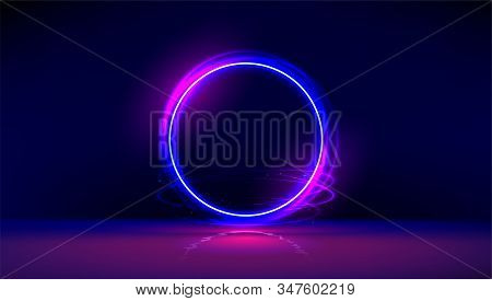 Dark Abstract Furistic Background With Circle Gate. Vector Neon Gloving Ring In Dark Room. Round Lig