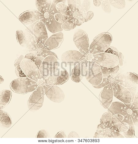 Seamless Pattern With Spring Forest Flowers Liverleaf. Sakura Or Apple Blossom. Mix-media Design. Di