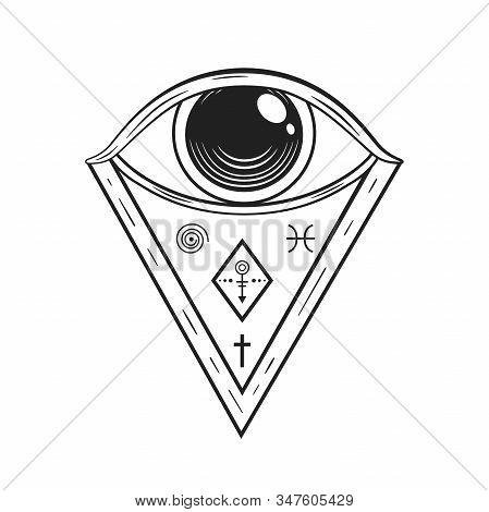 Vector Occult Symbols - Masonic Eye, Illuminati Triangle. Mystical Decoration