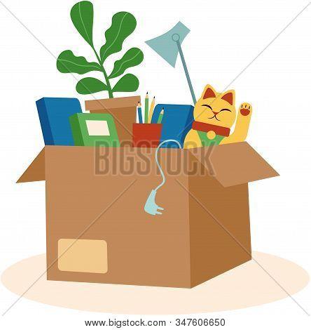 Cardboard Box With Personal Belongings Flat Vector Illustration