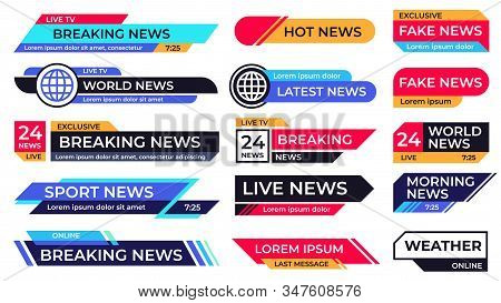 Breaking News Banner. Broadcasting Screen Bars, Television Title Third Part Banners And Live Tv Spor