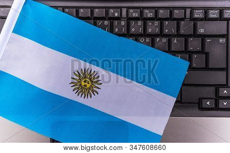 Flag Of Argentina On Computer, Laptop Keyboard