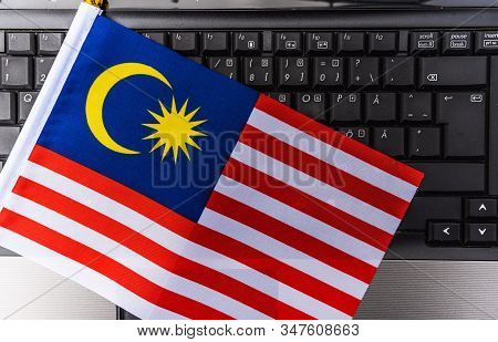 Flag Of Malaysia On Computer, Laptop Keyboard