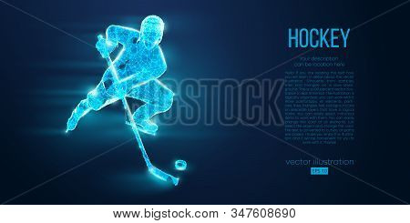 Abstract Silhouette Of A Hockey Player From Particles. Dots, Lines, Triangles Text Color Effects And