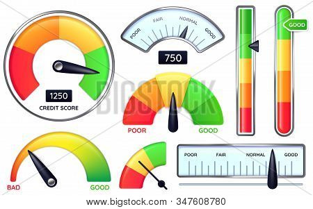 Credit Score Meter. Credits Rating Measure, Poor Or Good Scores Vector Illustration Set. Ranking Sca