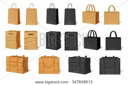 Shopping Bag Mockup. Craft Paper Bags, Black Empty Packaging And Shop Handbag Template Vector Set. C
