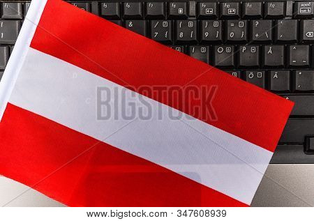 Flag Of Austria On Computer, Laptop Keyboard