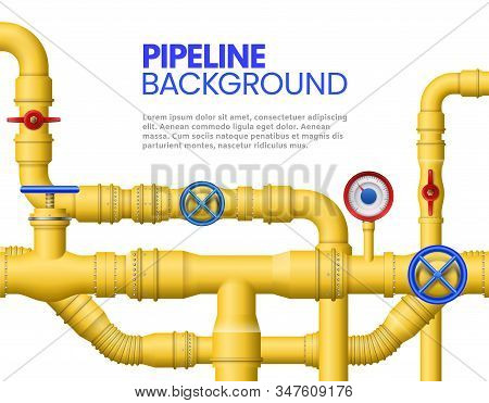 Industrial Gas Pipe Banner. Yellow Pipeline, Oil Pipes And Pipelines Vector Illustration. Modern Bac