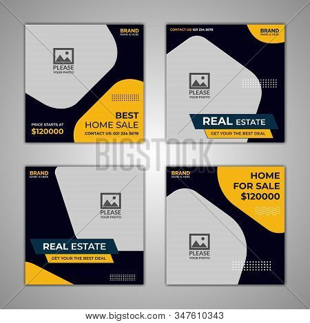 Best home sale Set Social Media Post, of Social Media Post Template for Real Estate and Apartment Promotion, Real Estate Social Media Post Template, Social Media Banners, Elegant of Real Estate or Home Sale Social Media Promotion, Square flyer design Temp