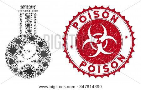 Coronavirus Mosaic Poison Icon And Rounded Grunge Stamp Seal With Poison Text. Mosaic Vector Is Comp