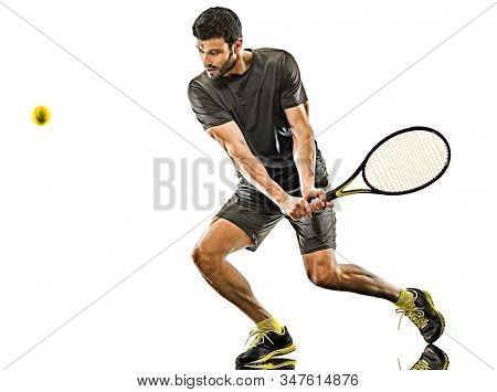 one caucasian mature tennis player man backhand full length silhouette in studio isolated on white background