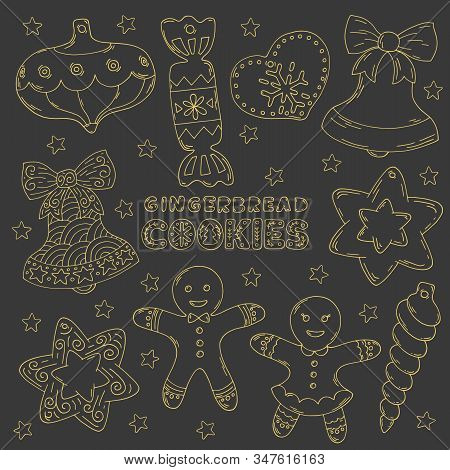 Cute Doodles, Vector Illustration For Christmas, Hand Drawn Set For Decoration. Clipart Of Cookies,