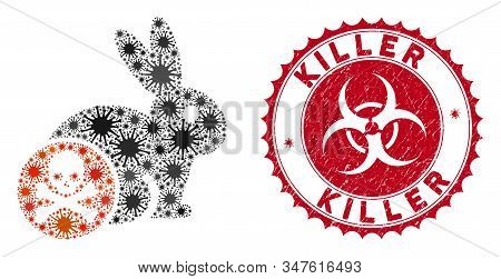 Coronavirus Mosaic Rabbit Toxin Icon And Rounded Distressed Stamp Watermark With Killer Caption. Mos