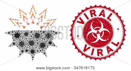Coronavirus Mosaic Viral Structure Icon And Rounded Corroded Stamp Seal With Viral Caption. Mosaic V