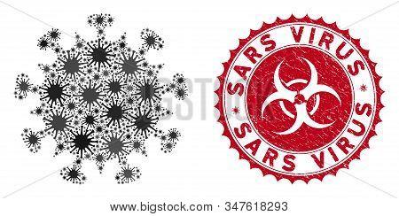 Coronavirus Mosaic Sars Virus Icon And Rounded Rubber Stamp Watermark With Sars Virus Phrase. Mosaic