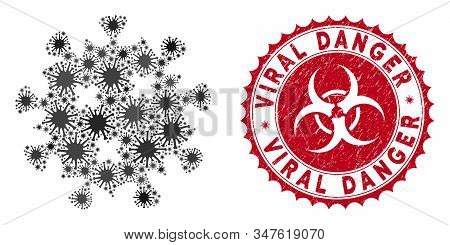 Coronavirus Mosaic Infection Virus Icon And Round Rubber Stamp Watermark With Viral Danger Caption.