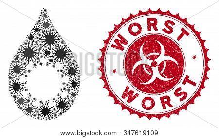 Coronavirus Mosaic Virus Drop Icon And Round Grunge Stamp Watermark With Worst Phrase. Mosaic Vector