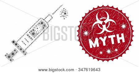 Coronavirus Mosaic Vaccine Icon And Round Distressed Stamp Seal With Myth Text. Mosaic Vector Is Com