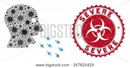 Coronavirus Mosaic Respiratory Infection Icon And Round Grunge Stamp Seal With Severe Caption. Mosai