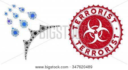 Coronavirus Mosaic Water Proof Icon And Round Grunge Stamp Watermark With Terrorist Text. Mosaic Vec