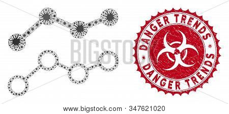 Coronavirus Collage Trends Icon And Rounded Corroded Stamp Seal With Danger Trends Caption. Mosaic V