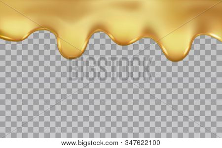 Dripping Gold Isolated On A Transparent Background. Vector Illustration Of Molten Liquid Flowing Dri