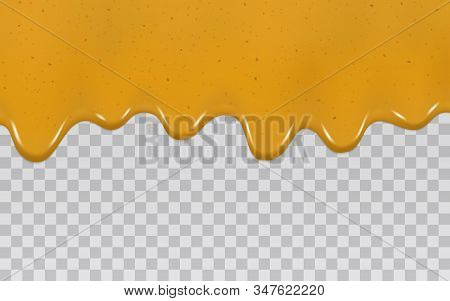 Dripping Curry Sauce Isolated On A Transparent Background. Vector Illustration Realistic Yellow Spre