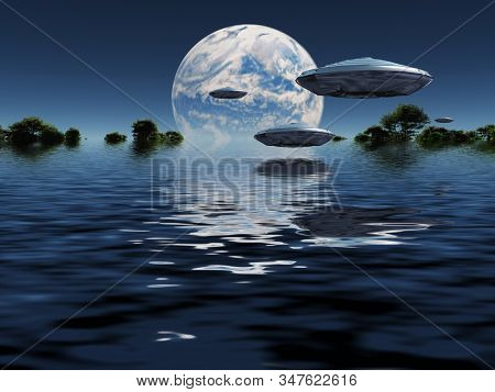 Blue planet on the horizon. UFOs in the sky. 3D rendering