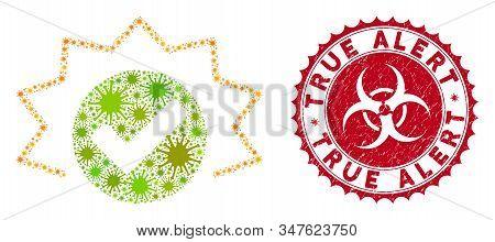 Coronavirus Mosaic True Alert Icon And Round Grunge Stamp Watermark With True Alert Phrase. Mosaic V