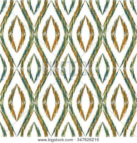 Ikat Ogee Seamless Vector Pattern Design. Ethnic Fabric Print Geometric Ikat Pattern. Smooth Ogee Se