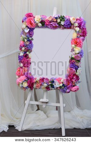 wedding floral decoration with blooming flowers