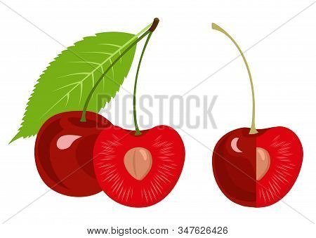 Ripe Cherry, Half Cherry, Cherry With A Leaf Isolated On White Background