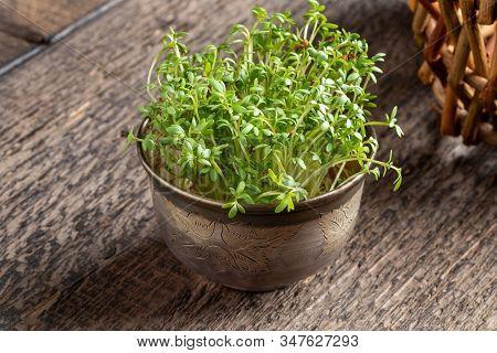 Fresh Garden Cress On A Wooden Table