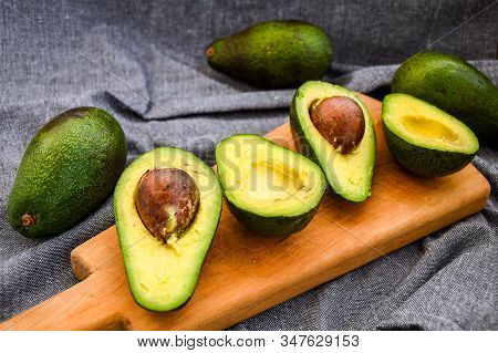 Slices Avocado. Avocado Salad Recipe Food Background With Fresh Organic Avocado