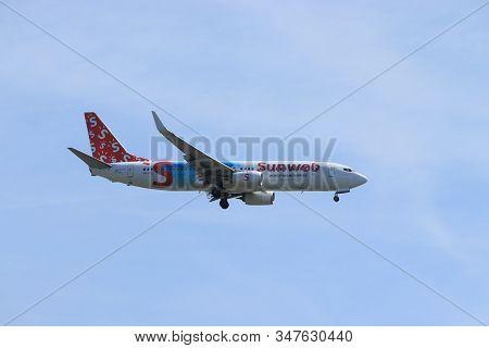 Amsterdam, The Netherlands - June, 1st 2019: Ph-hsj Transavia Boeing 737-800, Special Sunweb Livery