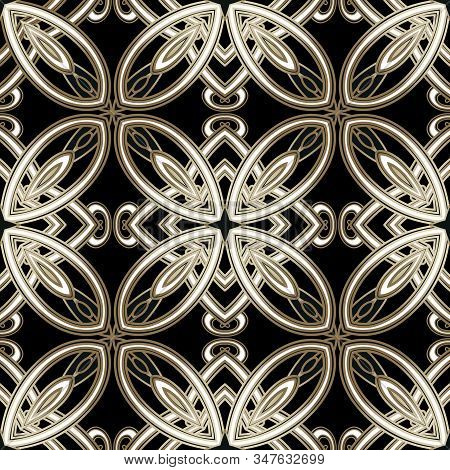 Beautiful Floral Arabesque Vector Seamless Pattern. Gold Intricate Symmetrical Ornament. Vintage Gol