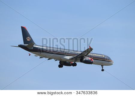 Amsterdam, The Netherlands - June, 1st 2019: Jy-ayv Royal Jordanian Airbus A321-231 Final Approachin