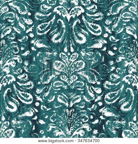 Damask Teal Turquoise Dyed Effect Worn Pattern