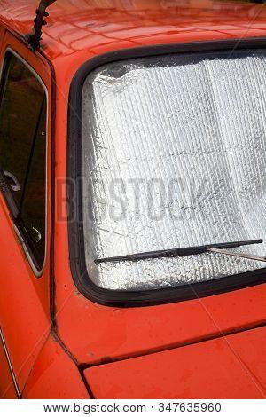 Old Car. Foil Sunshades On The Windshield (windscreen). Car Windshield Sun Shades. Sun Protection. C