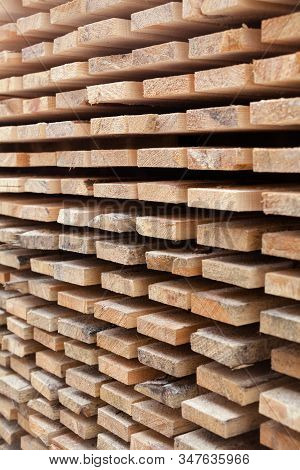 Wooden Planks. Air-drying Timber Stack. Wood Air Drying (seasoning Lumber Or Wood Seasoning). Timber