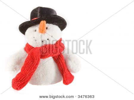 Festive Snowman With Red Scarf.