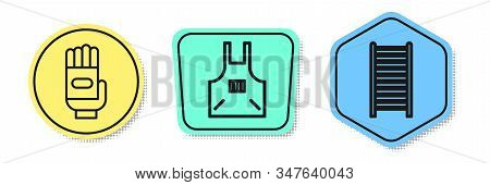 Set Line Garden Gloves, Kitchen Apron And Wooden Staircase. Colored Shapes. Vector