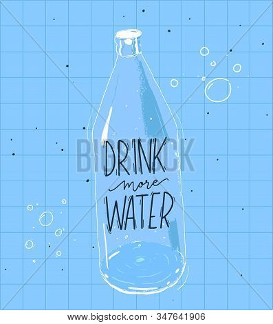 Drink More Water Quote And Illustration Of Bottle. Vector Poster With Blue Squared Background