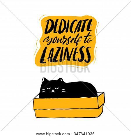 Dedicate Yourself To Laziness. Cute Sleeping Cat In The Box. Funny Quote, Vector Typography Poster A
