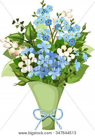 Vector Bouquet Of Blue And White Forget-me-not, Lily Of The Valley And Plumbago Flowers.