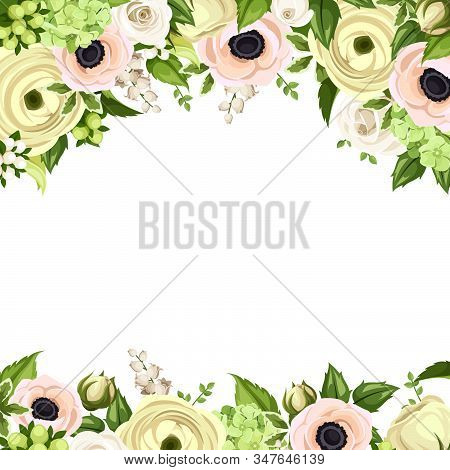 Vector Greeting Card With Pink And White Roses, Anemones, Ranunculus, Hydrangea And Lily-of-the-vall