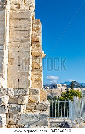 Monument Of Philopappos In Athens Greece On A Clear Blue Sky