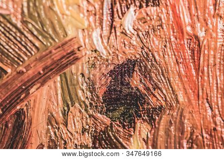 Abstract Vintage Brush Strokes On Canvas Background, Oil Painting Impressionism Art Backdrop, Paint